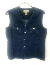 Womens Vtg Jones New York Country Denim Vest Size 16 USA Cotton