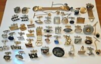 Large lot vintage single Cuff Links. Warner bros, Swank, Hickok, with stones