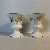 Crown Staffordshire Vase Set Of 2 FLAW Aristocrat Fine Bone China England