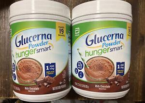 2 Glucerna Hunger Smart Rich Chocolate Powder 22g Protein- 22.3oz - Exp: 2022