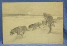 um 1890 Albert Richter SIOUX INDIANER Bleistiftzeichnung d. Karl Mai Illustrator
