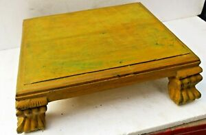 Antique Wooden Altar Lions legs Chowki Worship Bajot Rustic distressed Color