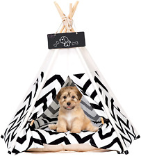 Pet Teepee Tents, 24 Inch Portable Indoor Dog Teepee Bed with Thick Cushion, Was