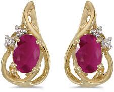 14k Yellow Gold Oval Ruby And Diamond Teardrop Earrings