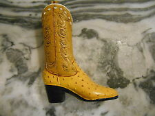 Western Women Cowboy Cowgirl Boot Shoe Yellow style Mini Home Decor Figurine Old