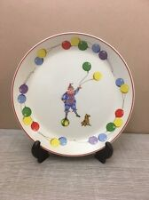 50s Johnson Brothers The Happy Clown Baby Plate Clown Balloons Dog w/Hanger