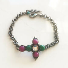 """New 8"""" Lucky Brand Jade Cross Bracelet Gift Vintage Women Party Holiday Jewelry"""