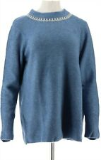 Denim & Co Round-Neck Long-Sleeve Sweater Seaport Blue 2X NEW A345255