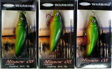 3 Fladen Warbird Crank Minnow Floating Plugs 8cm 8g Rattler Yellow Orange Green