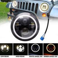 7 Inch Round LED Headlight 60W Halo Angle Eyes For Jeep Wrangler JK LJ TJ CJ