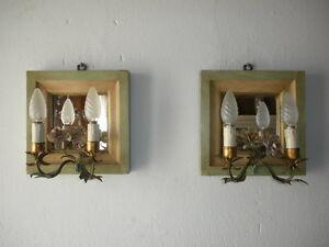 ~c 1900 Venetian Mirror Tole Porcelain Roses Sconces Italy Rare Green & Yellow~