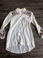 Women 3J Workshop Johnny Was Tunic Dress Shirt Cream Embroidered Coachella