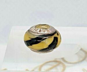 Lovelinks Petite Black And Yellow Tiger Stripe Bead Charm