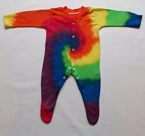 Tie Dye Baby 100% Cotton PJ Babygrow Shower Unique Hippie Rainbow Gift Present