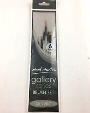 6pc Mont Marte Acrylic Paint Brushes Art Artist Painting Brush Set Taklon Liner