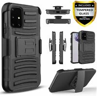 For Samsung Galaxy A51 A71 5G Case, Armor Belt Clip + Tempered Glass Protector