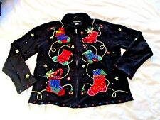 Christmas Sweater sz L Zippered Fur Collar Embroidered Stockings Beaded
