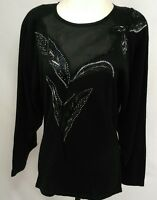 Vintage 80s Beaded Sweater Womens Size M  Black Cotton Blend Dolman Sleeve