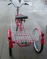 """3 WHEEL Adult Tricycle 24"""" Trike 6 SPEED Bike RED Gomier"""
