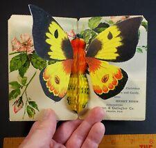 SUPER RARE Mechanical Advertising Postcard- Popup Butterfly Omaha NE 1905 Paxton