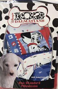Vintage Disney 101 102 Dalmatians Pillow Case Standard Dogs Spots 2 Sided 20x26