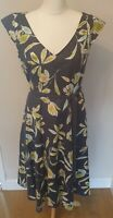 Laura Ashley Linen Dress UK Size 16 Retro Floral Summer Party Special Occasion
