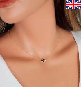 Blue Evil Eye Hamsa Lucky Turkish Charm Pendant Necklace Gold/Silver Gift