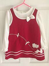 Blueberi Boulveard Girls 4T Red Dress Shirt Outfit Set Dog Scottie Puppy Xmas