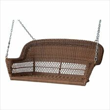 Jeco Resin Wicker Porch Swing in Honey Transitional Outdoor Glider and