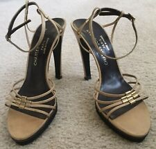 Gorgeous Vintage Charles Jourdan Tan Beige Leather Ankle Strap Sandal Shoes 7.5B