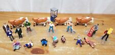Vintage Lot O Gauge Scale Cows Cattle Workers Phone Booth Lionel Plasticville