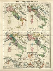 1895 ITALY HISTORY OF ITALY 1000-1868 Antique Map