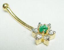 0.21ctw ROUND DIAMOND EMERALD 14K YELLOW GOLD Anniversary  BELLY NAVEL RING