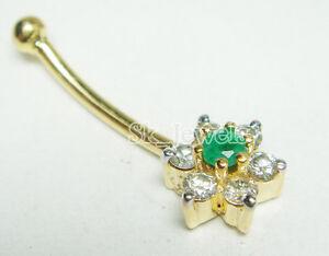 0.21ctw ROUND DIAMOND EMERALD 14K YELLOW GOLD VALENTINE BELLY NAVEL RING