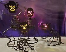 Partylite Mr. & Mrs. Bones, Dog & Cat Tealight Holders & Warmer-Full Set! Euc!