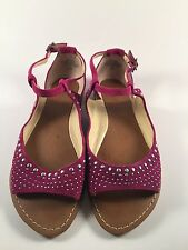 ENZO ANGIOLINI FEISTY Purple Suede Womens Designer Shoes Ankle Strap Sandals 6