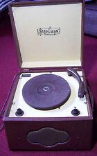 Antique Vintage Steelman Portable Phonograph - Brown - Works! - Bronx, N.Y.