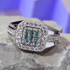 Rare Colour Change Alexandrite & Zircon Platinum Plated Silver Ring Size V/10.5