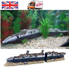 Aquarium Fish Tank Medium Titanic Ship Wreck Boat Ornament Xmas Gift Decor UK