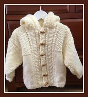 "Baby Chunky Jacket with Hood Knitting Pattern Boys Girls 16-28""  211"