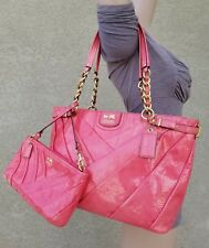 Coach 2pc Madison Diagonal Pleated Patent Leather Tote Bag Purse 21300 +wristlet