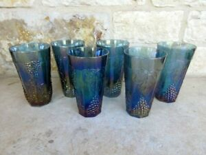 Indiana Iridescent Blue Harvest Grape Carnival Glass Set of 6 Tumblers