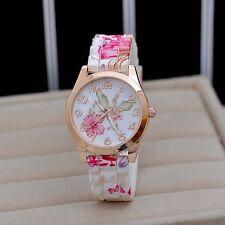 Beautiful Women girl Silicon Strap Rose Flower Geneva Wrist Watch A