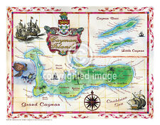 "19.5 x 25"" Cayman Islands Vintage Look Map Printed on Frenchtone Parchment Paper"