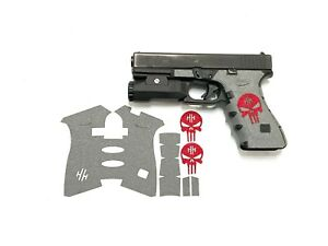 Handleitgrips Gray Textured Rubber Grip Tape with Red Skull for Glock 17/22