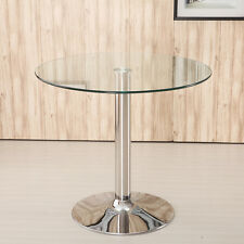 "Living Clear Glass Dining Table 23"" Diameter Large, Chrome Base Coffee/Bistro UK"