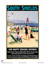 SOUTH SHIELDS VINTAGE RAILWAY POSTER TRAVEL HOLIDAY PRINT ADVERTISING ART