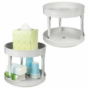 mDesign 2 Tier Spinning Lazy Susan Turntable Storage Tray, 2 Pack - Light Gray