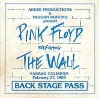 PINK FLOYD 1980 THE WALL TOUR NASSAU COLISEUM BACKSTAGE PASS / EX 2 NMT