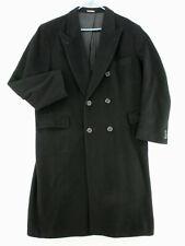 STRATHMORE Vtg 80s Black Italian Cashmere Wool Trench Coat Long Jacket Men's 44R